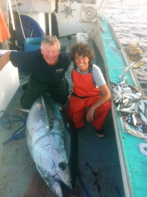 Linda Greenlaw & Rod Browne Mitchell with a Bluefin Tuna